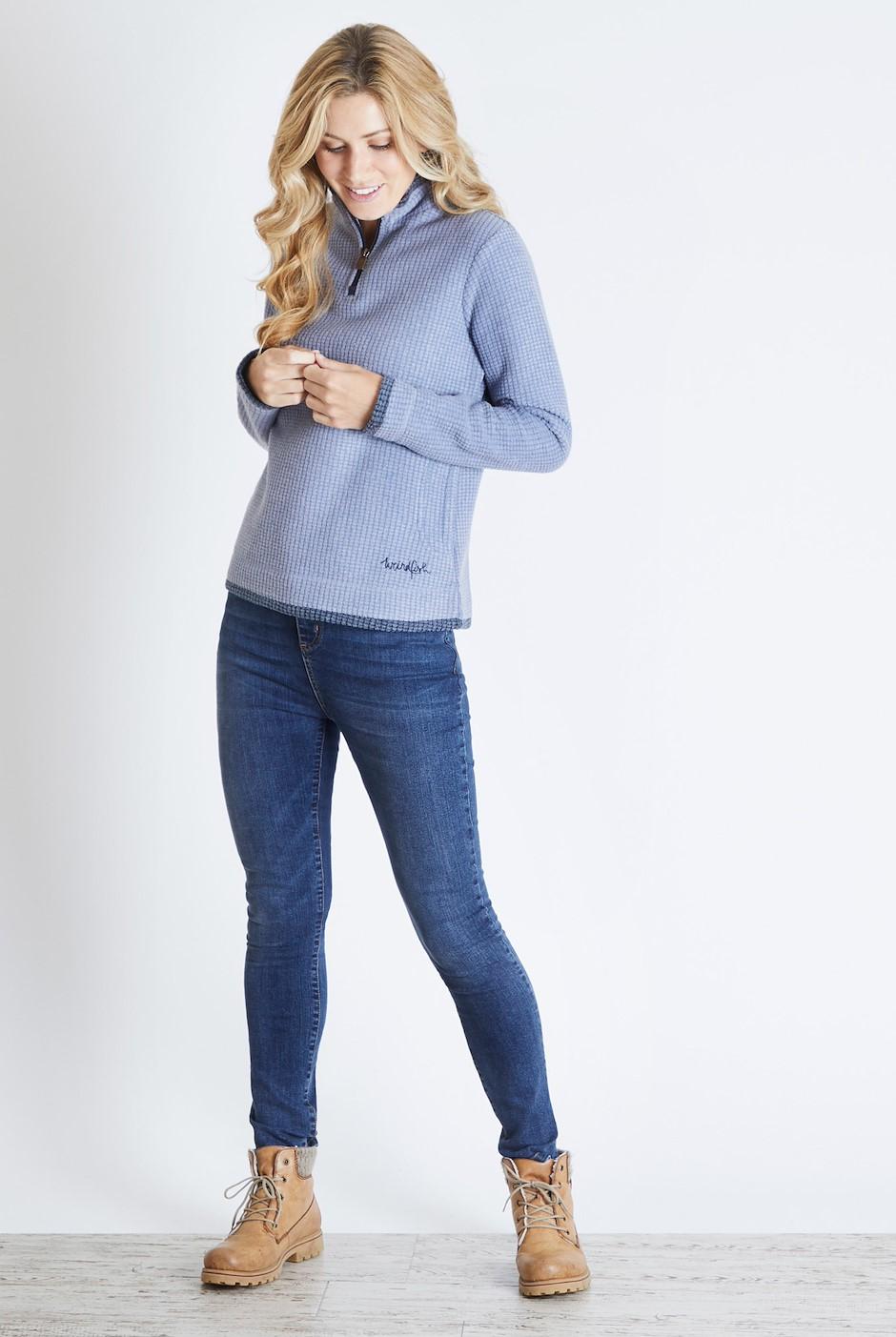 Beyonce 1/4 Zip Grid Fleece Sweatshirt Light Blue