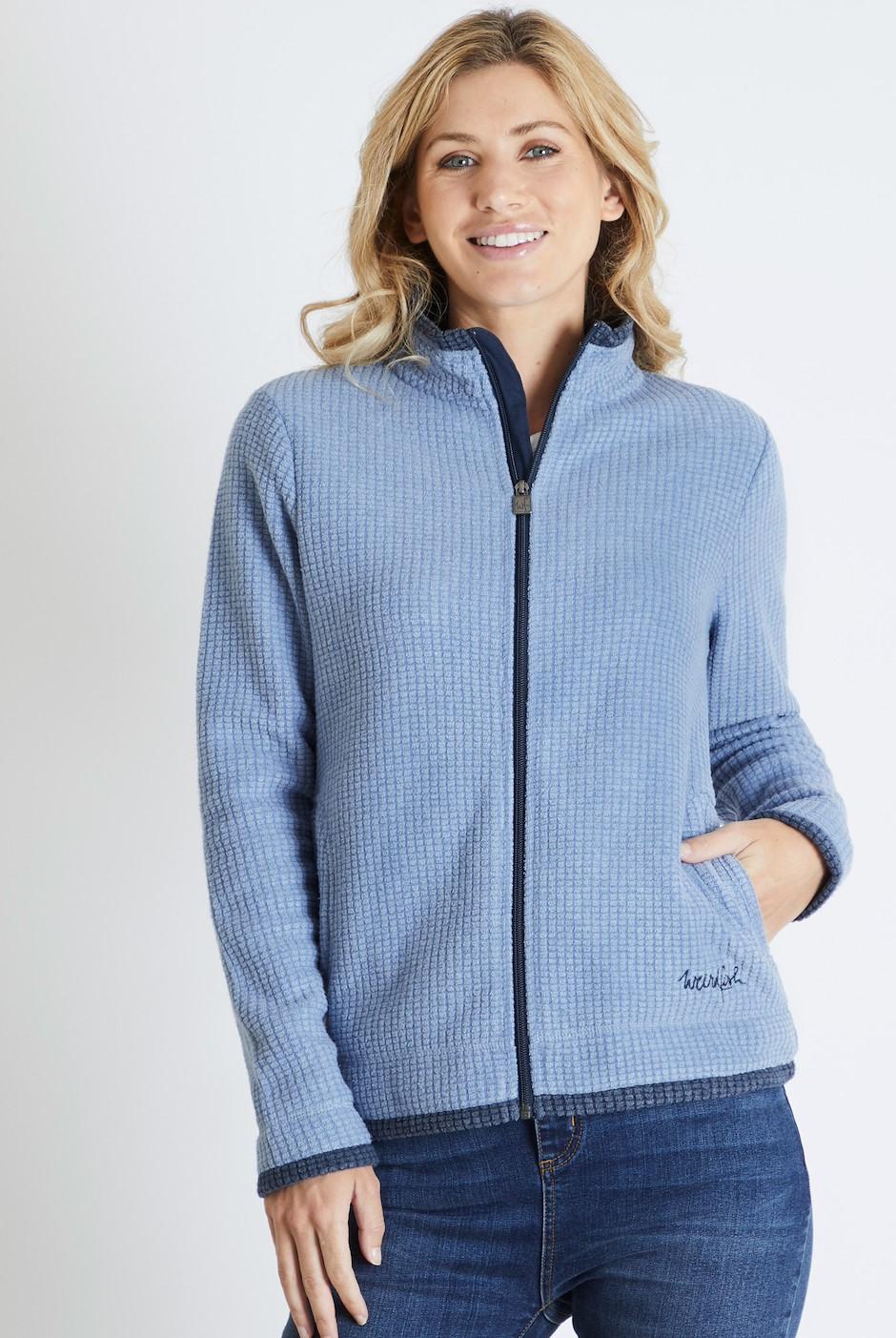 Ariana Grid Fleece Jacket Light Blue