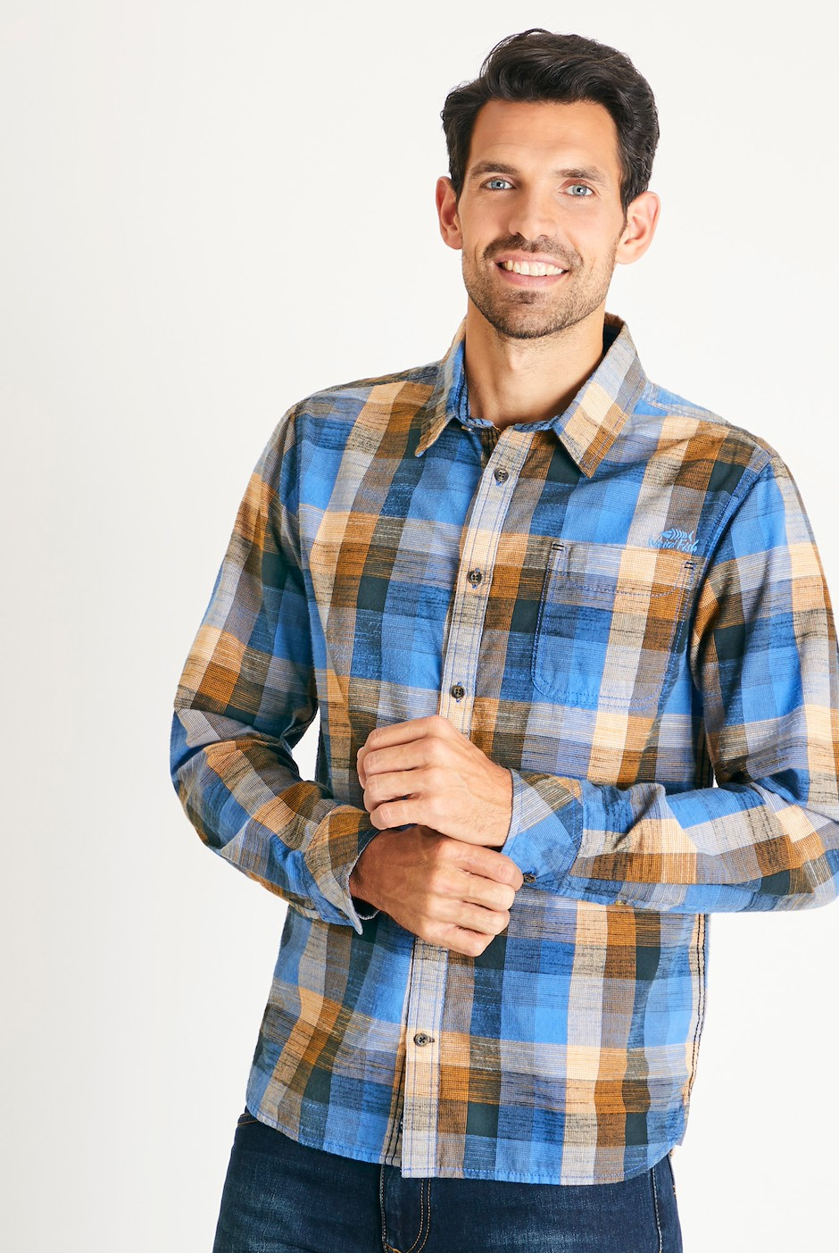 Renato Cotton Madras Check Shirt Riviera Blue