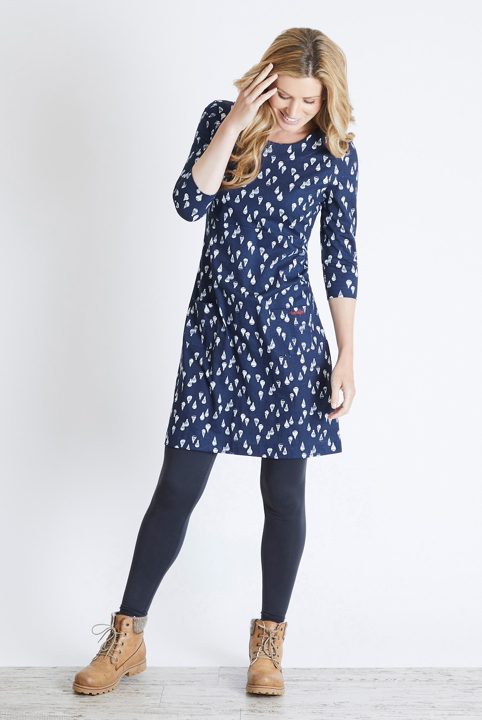 Starshine Printed Jersey Dress Dark Navy