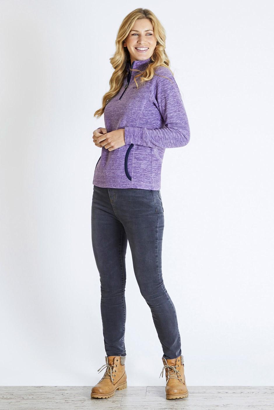 Nancy 1/4 Zip Melange Fleece Sweatshirt Purple Magic
