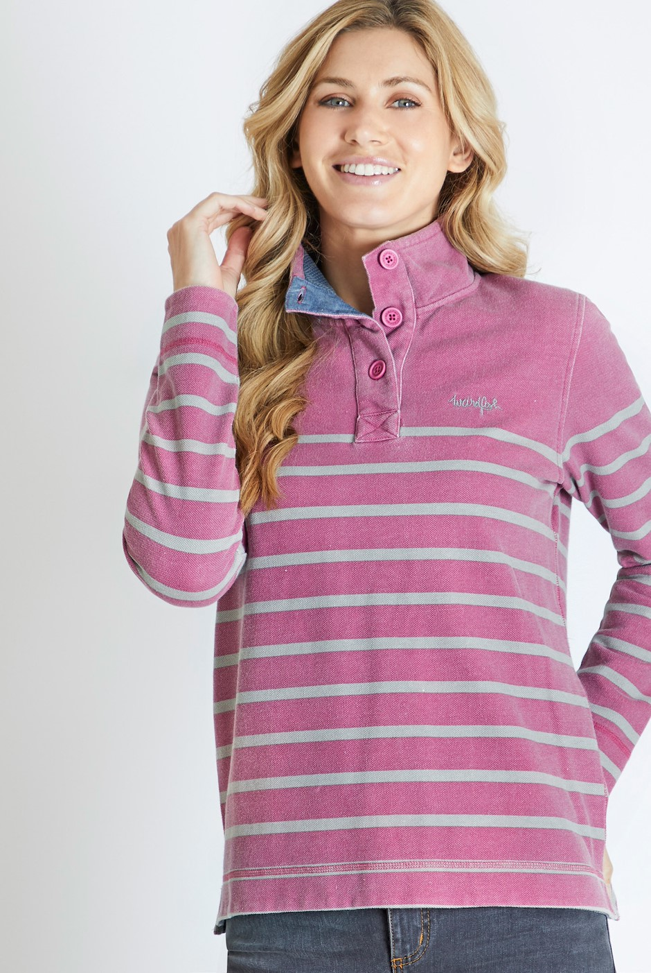 Hansley Button Neck Striped Sweatshirt Malaga