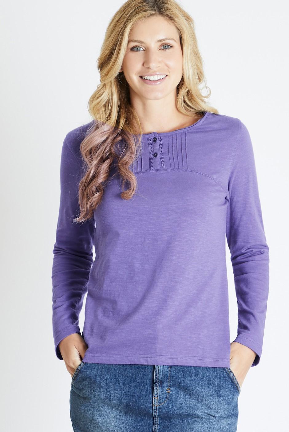 Mae Long Sleeve Cotton T-Shirt Dewberry