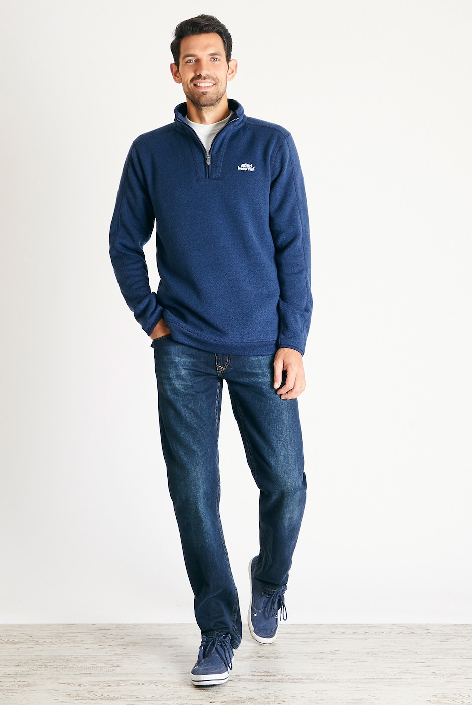 Stowe 1/4 Zip Soft Knit Fleece  Navy