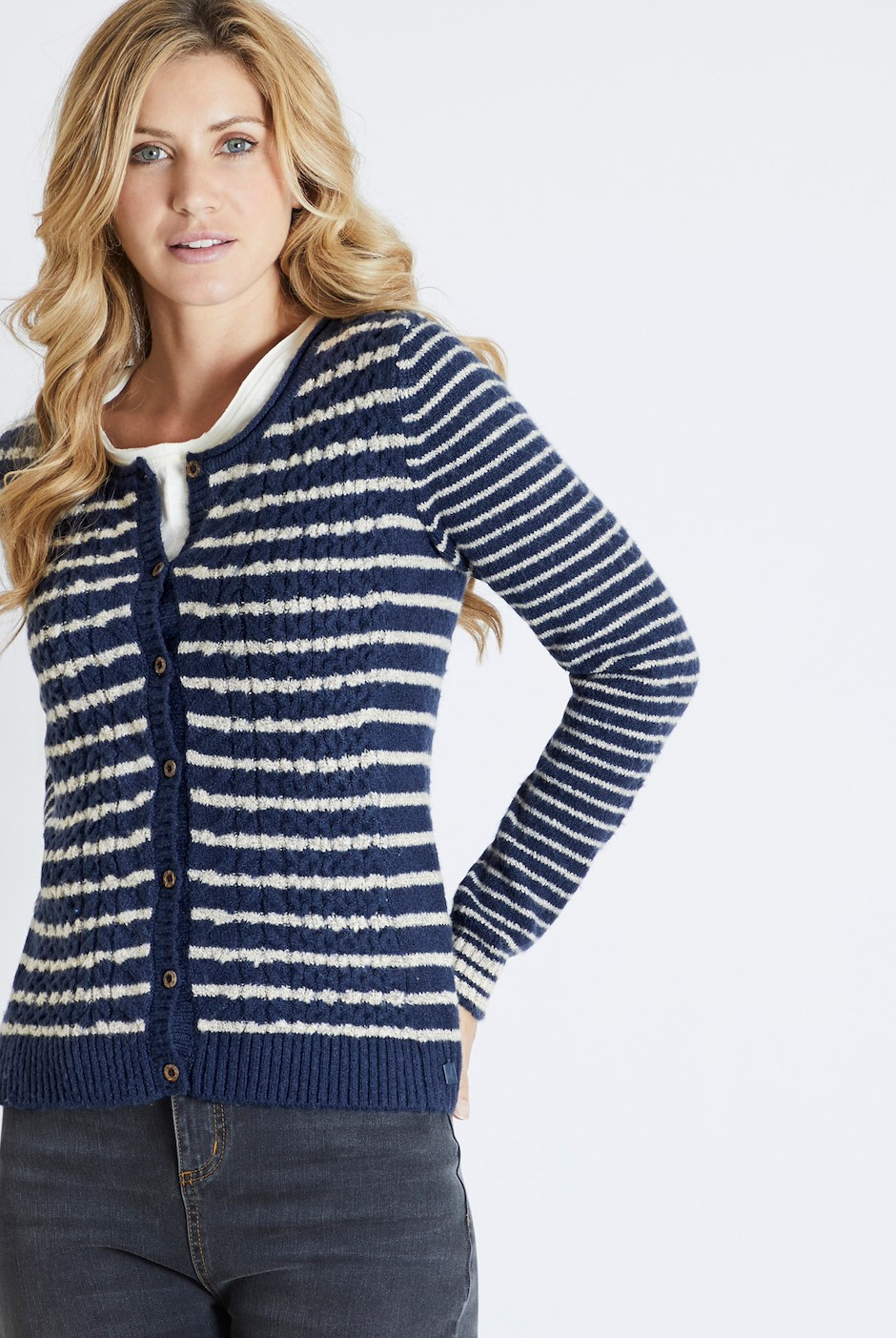 Brielle Plain Cable Knit Cardigan Navy