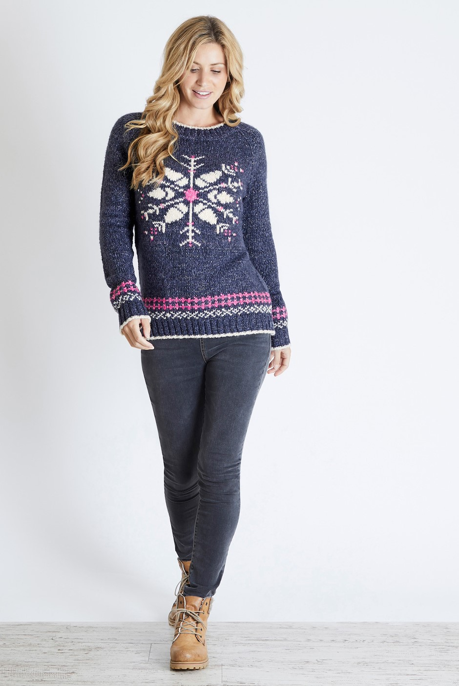 Fiona Snowflake Christmas Jumper Dark Navy