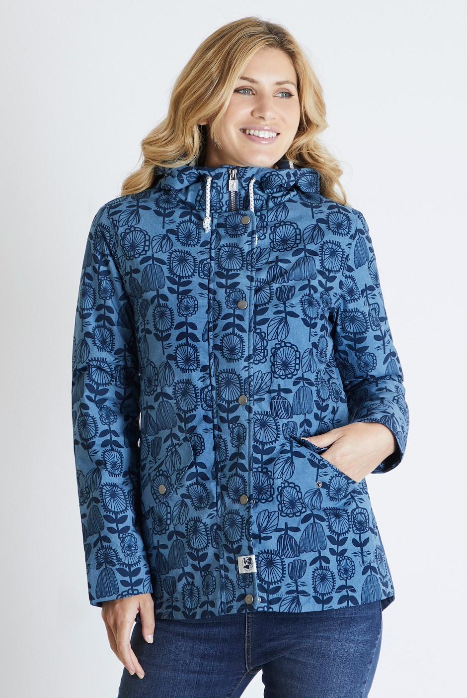Agnes Printed Waterproof Jacket Dark Navy