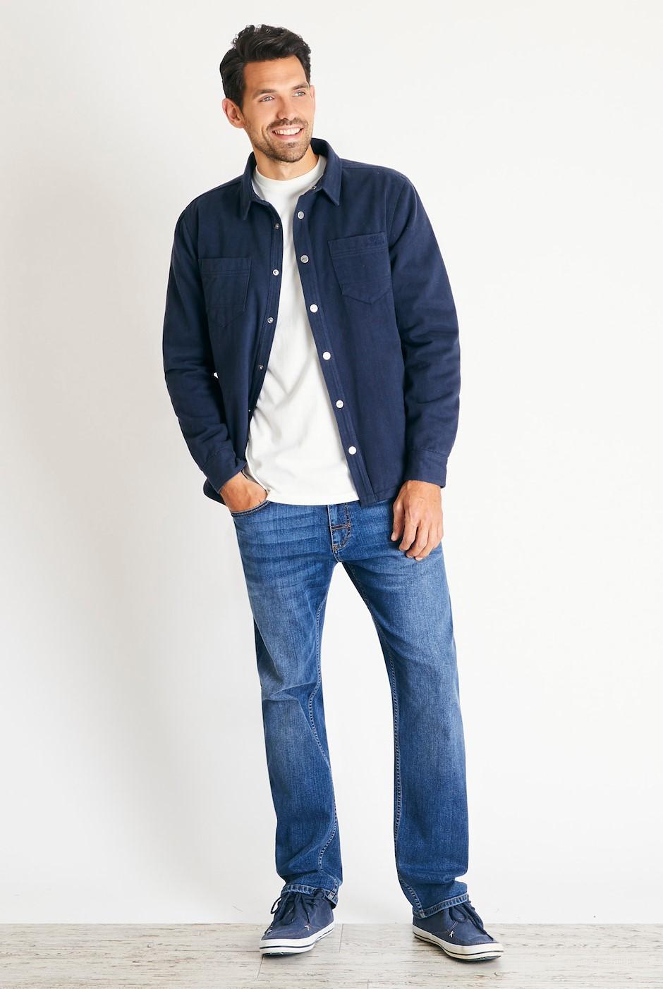 Franco Plain Quilted Cotton Twill Shirt Dark Navy