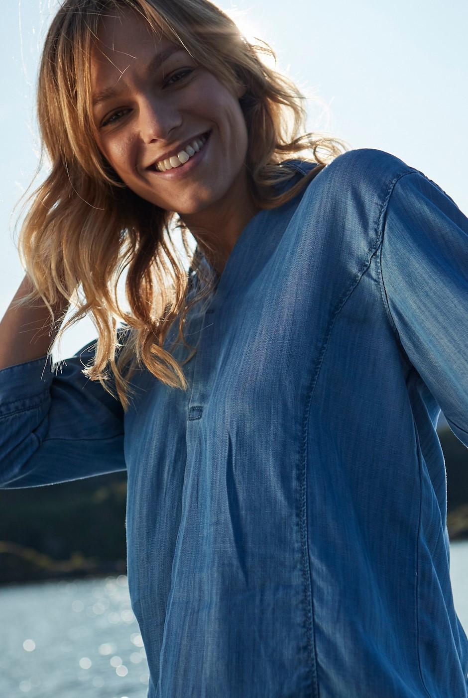 Isabella Tencel Plain Shirt Light Denim