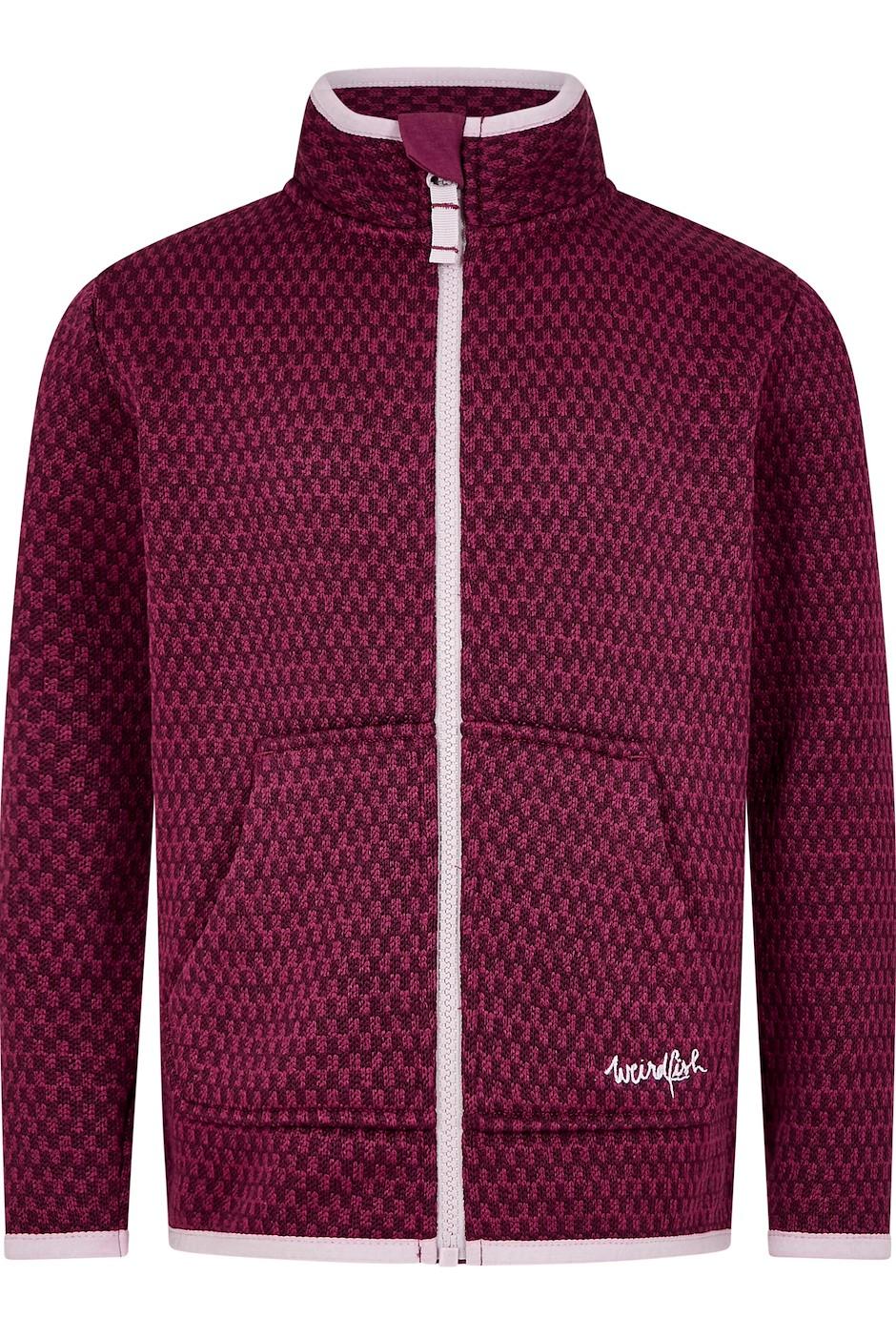 Warble Girls Full Zip Textured Fleece Purple Potion