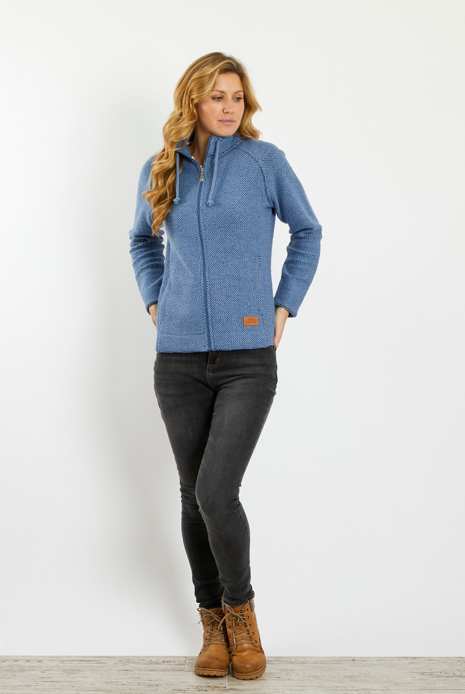 Holly Full Zip Classic Macaroni Jacket Light Blue