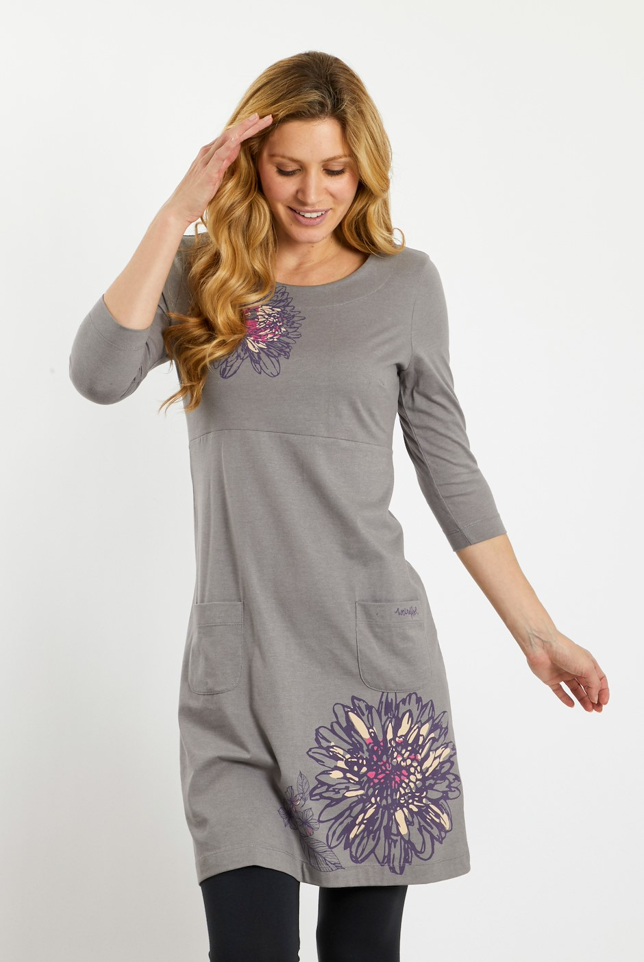 Sandpiper Printed Jersey Dress Grey Marl