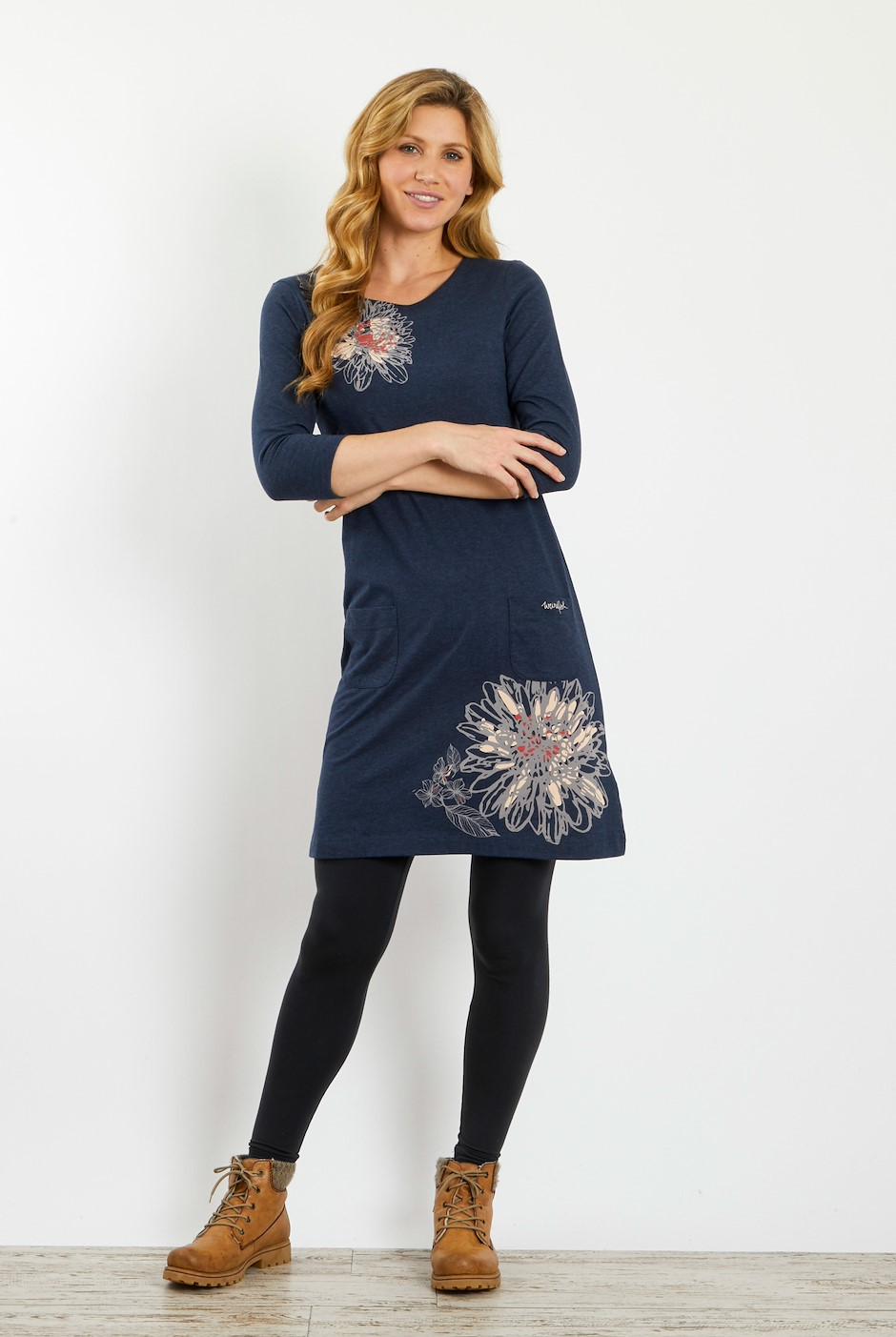 Sandpiper Printed Jersey Dress Dark Navy Marl