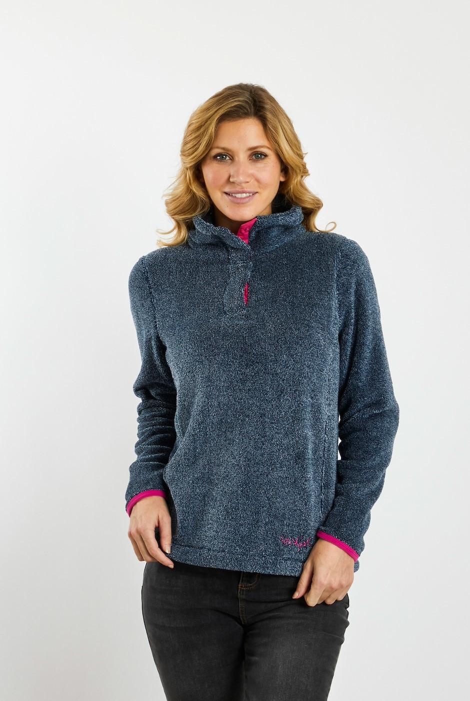 Tavia Pop Over Plush Knit Fleece Navy