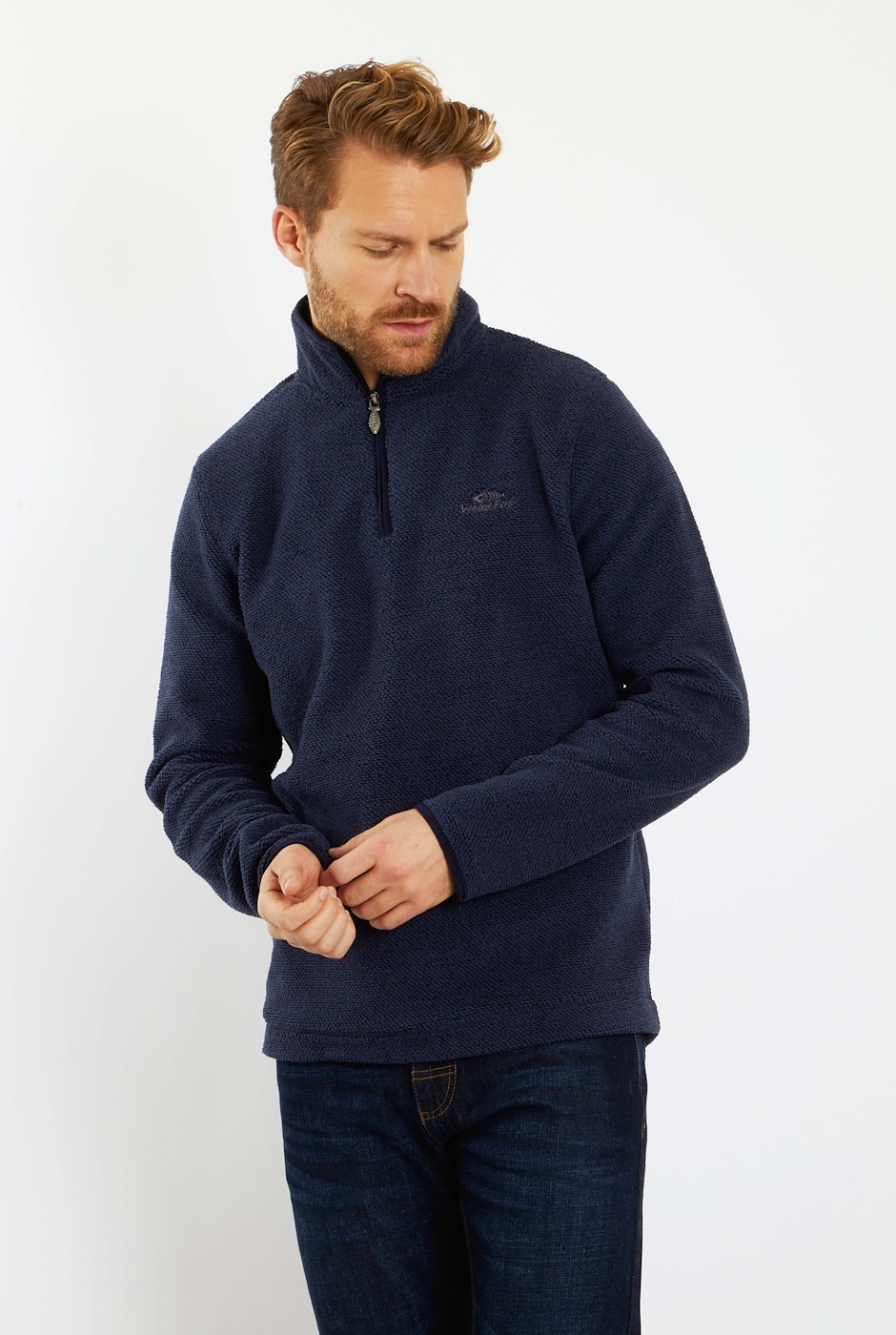 Errill 1/4 Zip Textured Fleece Dark Navy