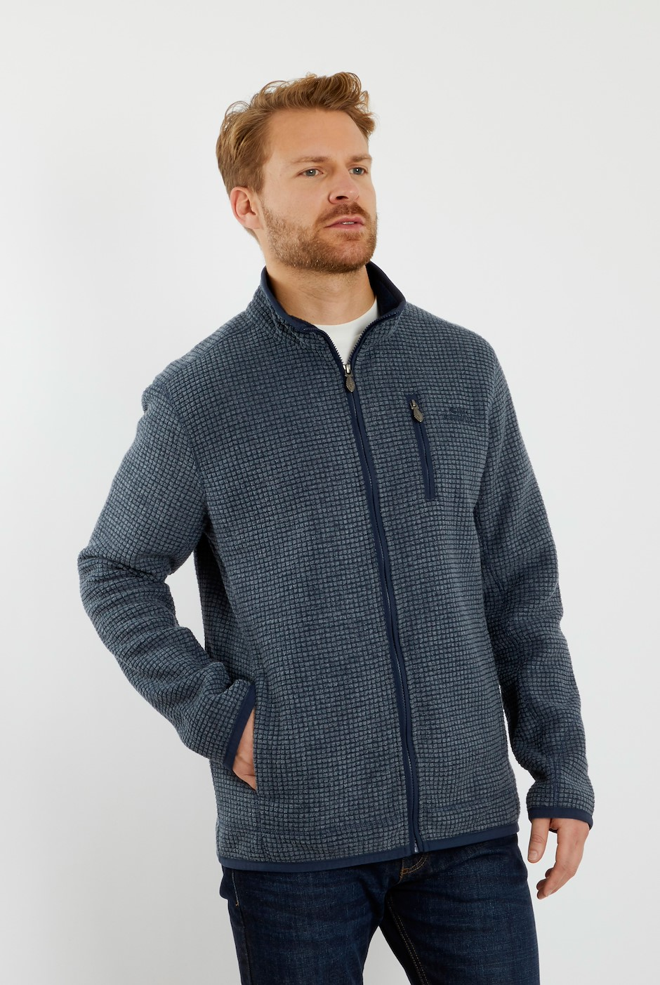 Rossten Full Zip Grid Fleece Navy