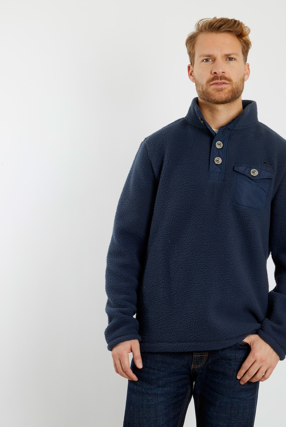 Byron Button Neck Fleece Sweatshirt Navy