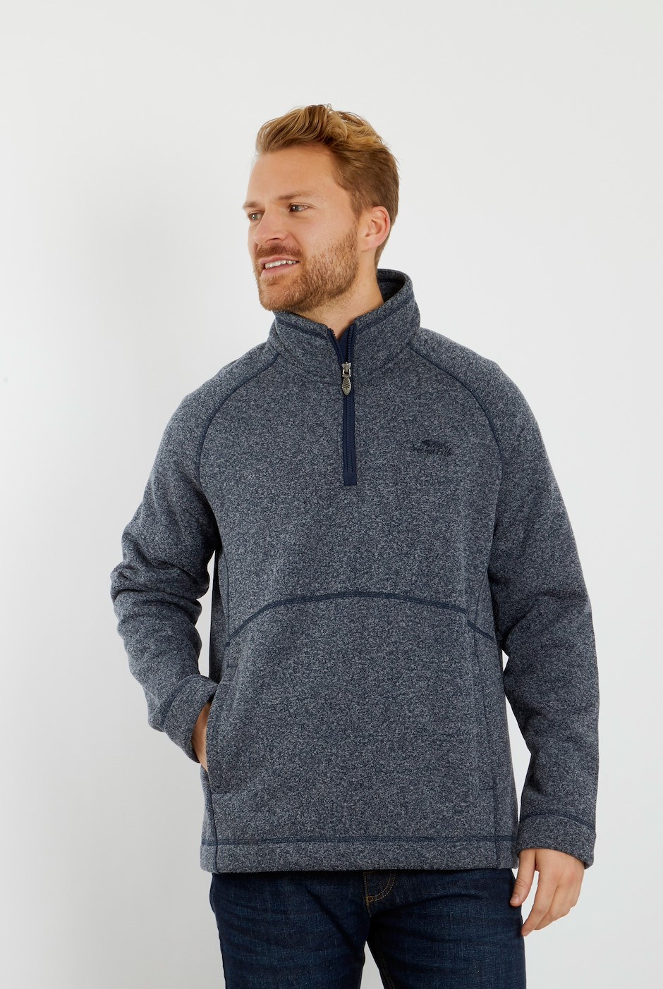 Mercada 1/4 Zip Bonded Fleece Sweatshirt Navy