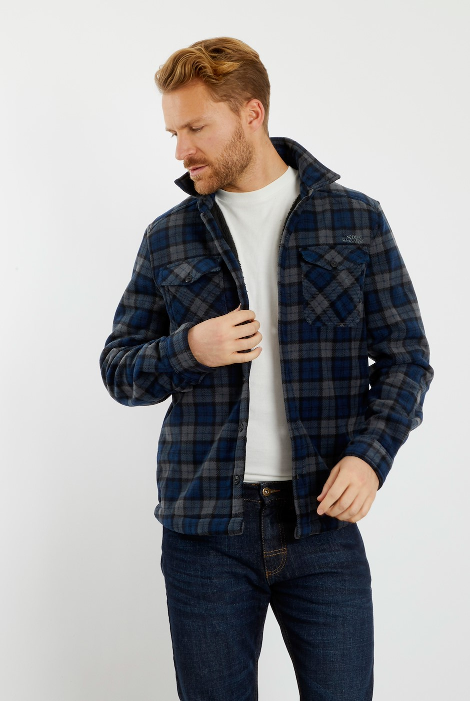 Igor Check Fleece Shacket Navy