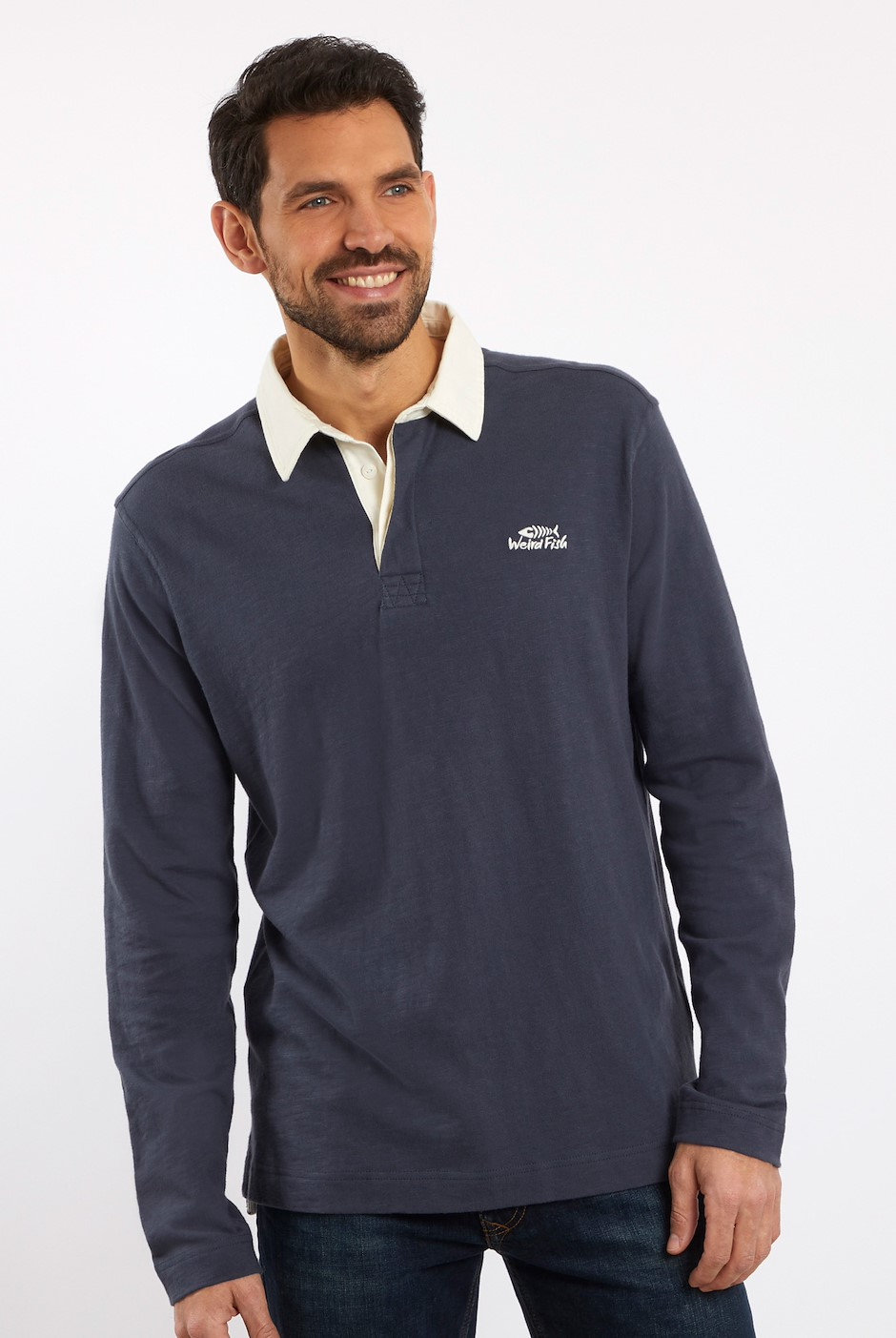 Marron Plain Rugby Shirt Dark Navy