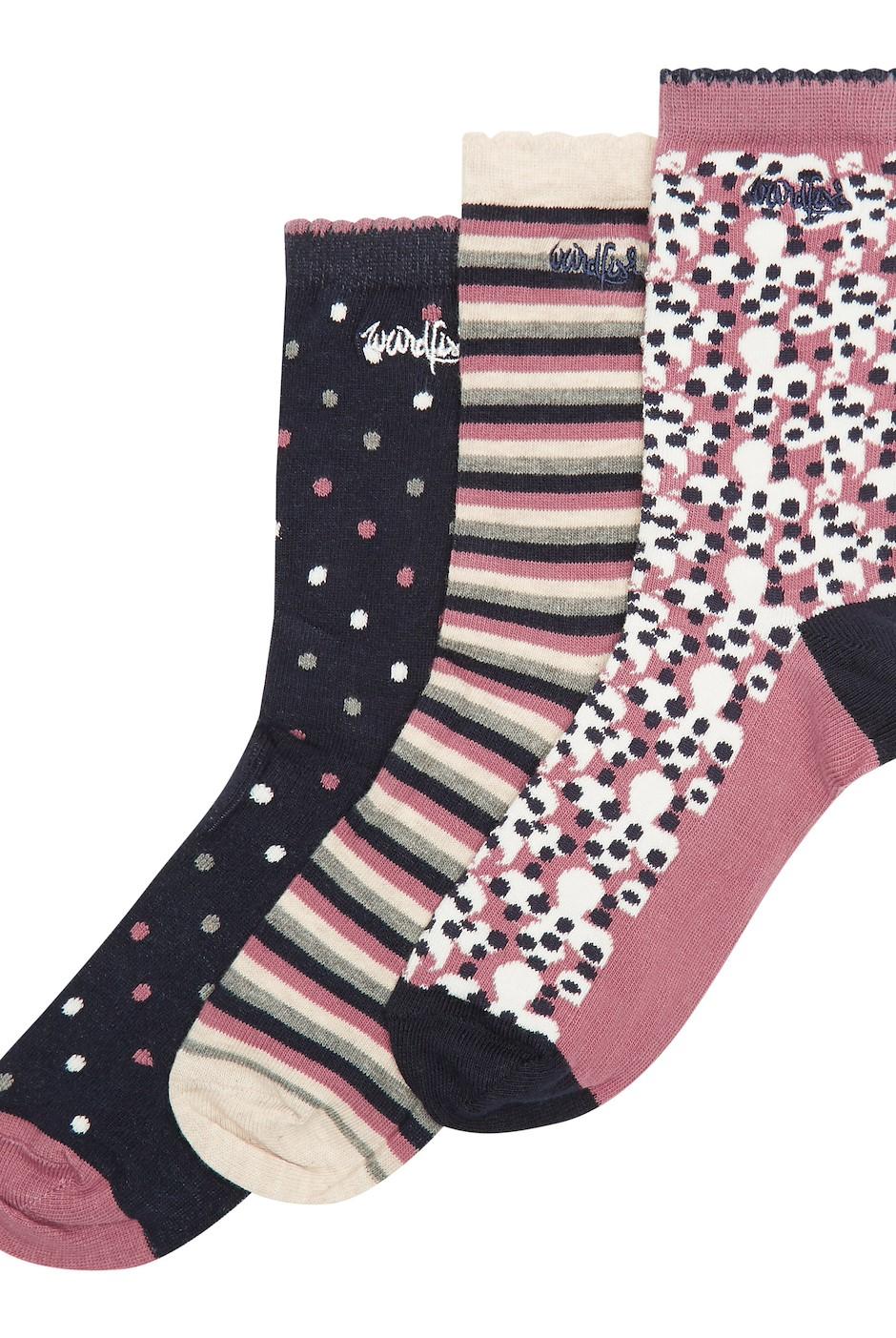 Parade Patterned Sock 3 Pack Magenta