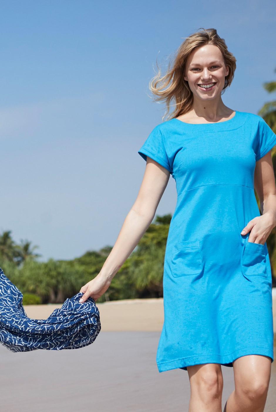Talia Plain Jersey Dress Blue Wash