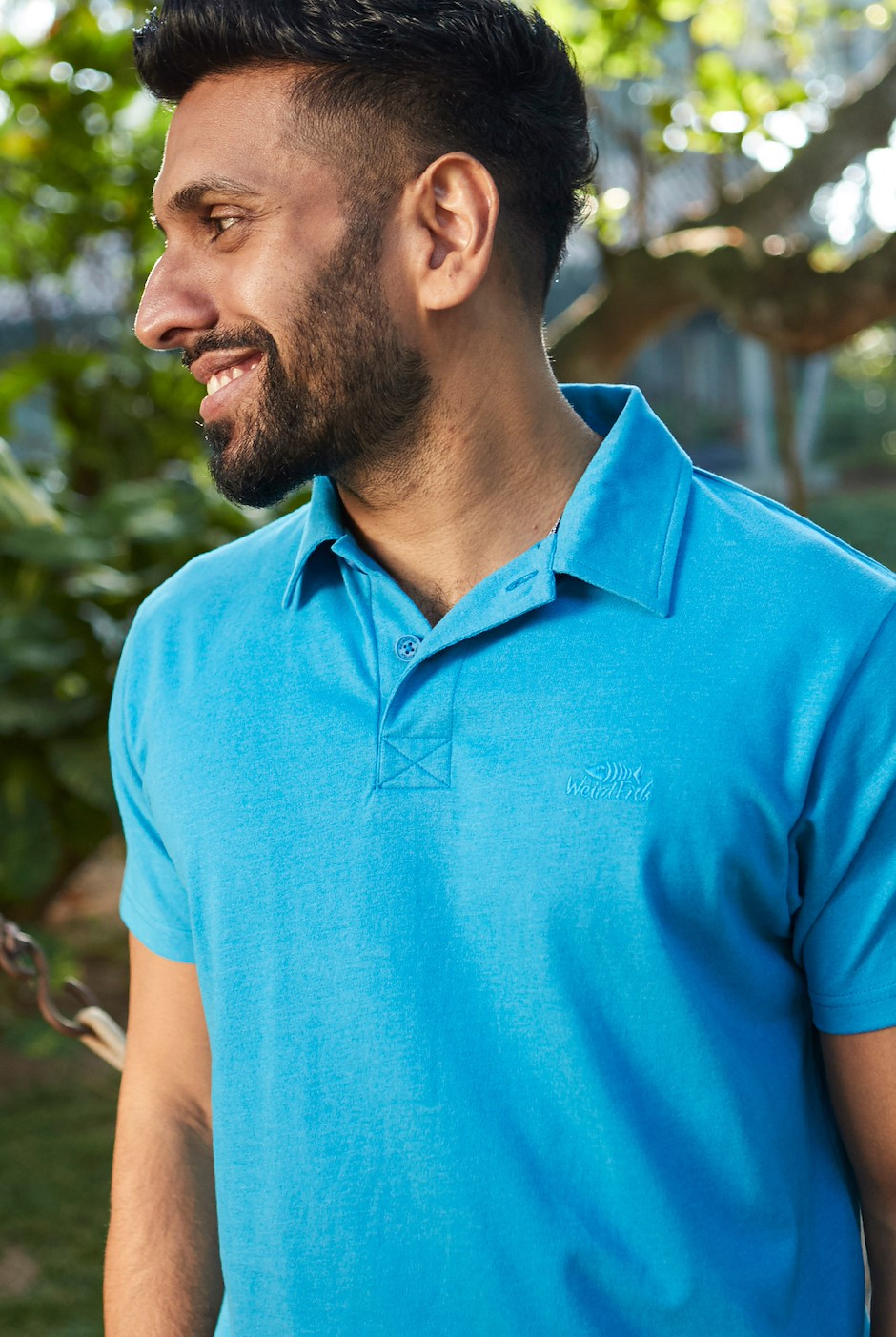 Quay Branded Polo Shirt Blue Wash
