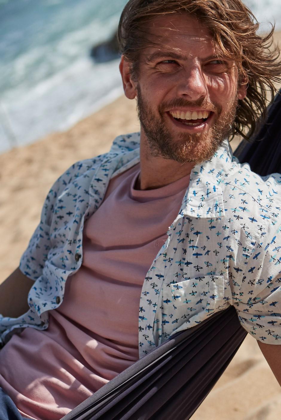 Elm Short Sleeve Patterned Shirt Marshmallow