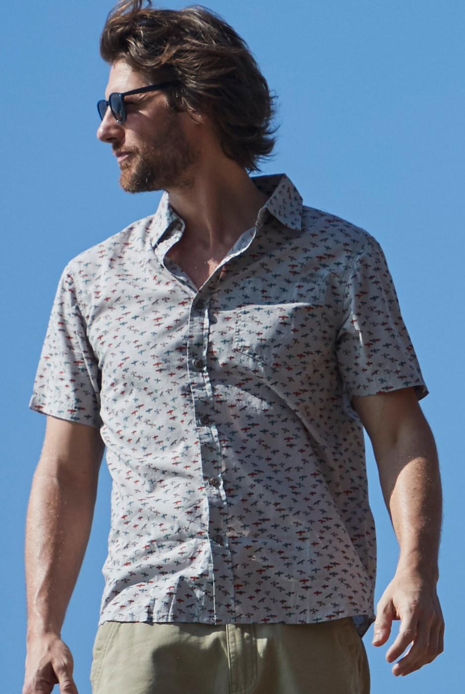 Elm Short Sleeve Patterned Shirt Soft Grey