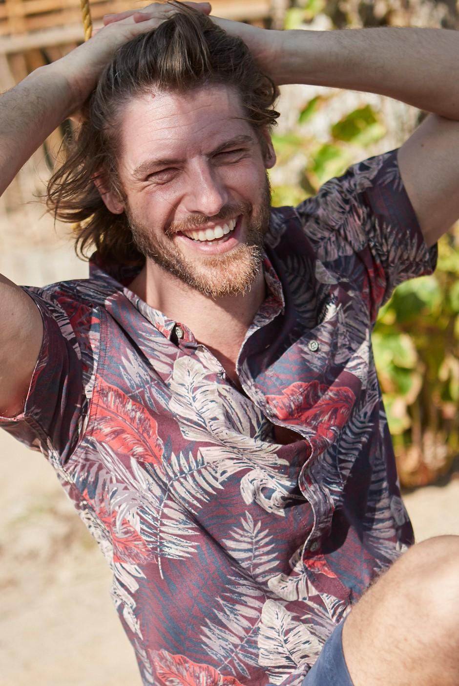 Dashbeck Short Sleeve Hawaiian Print Shirt Plum