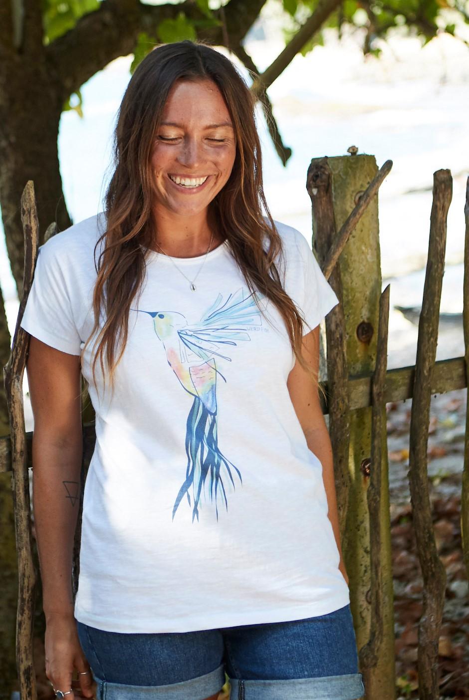 Hummingbird Organic Cotton Graphic T-Shirt White