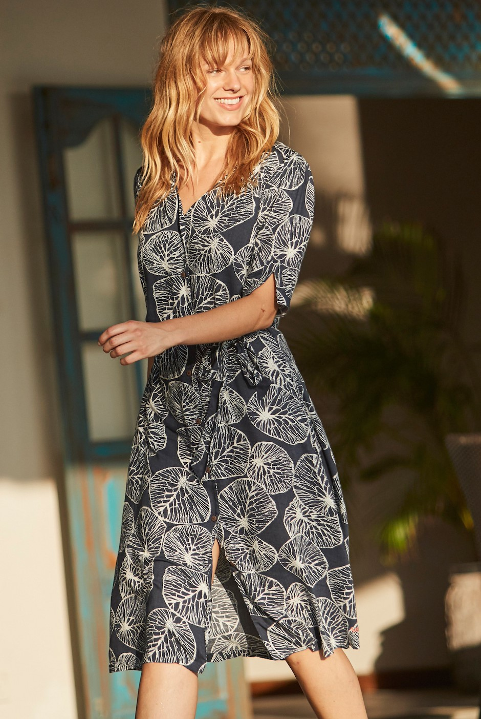 Milli Floral Print Midi Dress Dark Navy