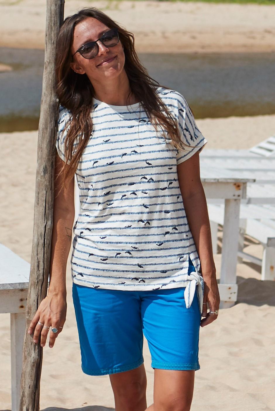 Naila Plain Chino Shorts Blue Wash