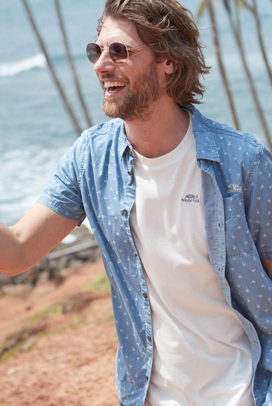 Salterton Short Sleeve Denim Jacquard Shirt Denim