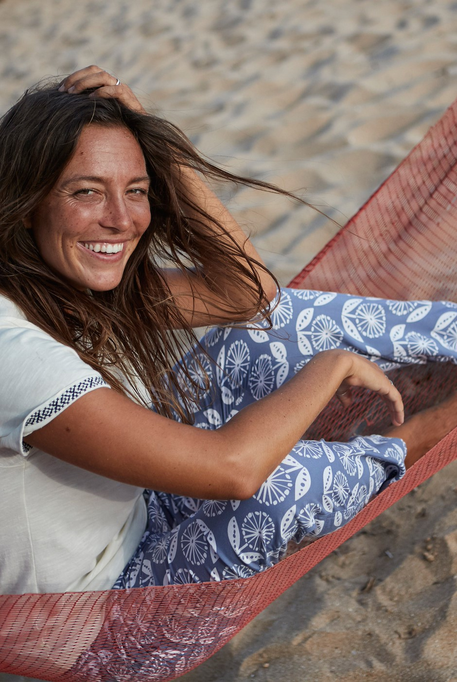 Tinto Patterned Harem Trousers Light Denim