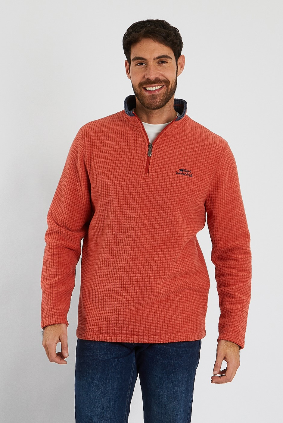 Newark 1/4 Zip Grid Fleece Sweatshirt Dark Rust