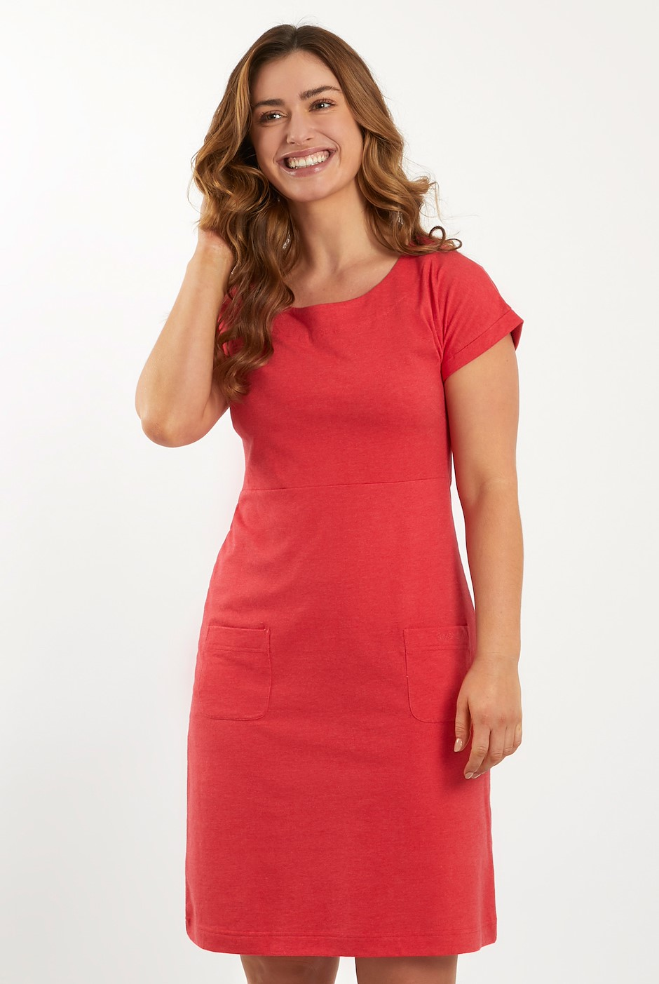Talia Plain Jersey Dress Radical Red