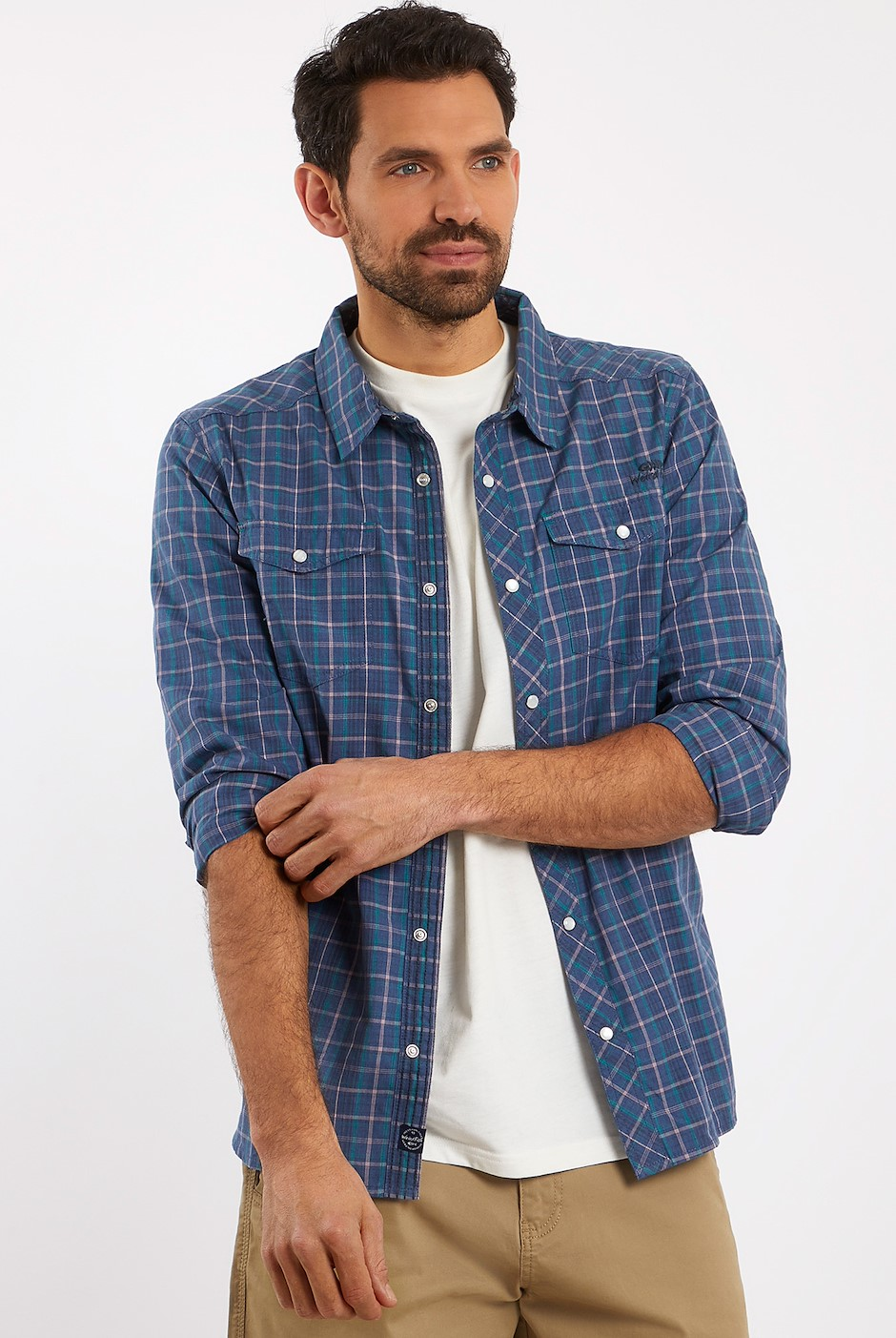 Braunton Long Sleeve Checkered Shirt Denim
