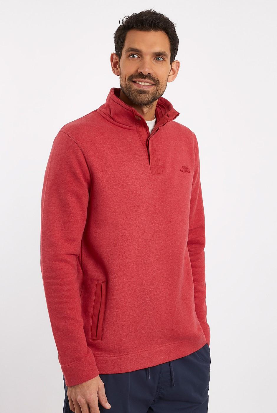 Folk Button Neck Sweatshirt Chilli Pepper