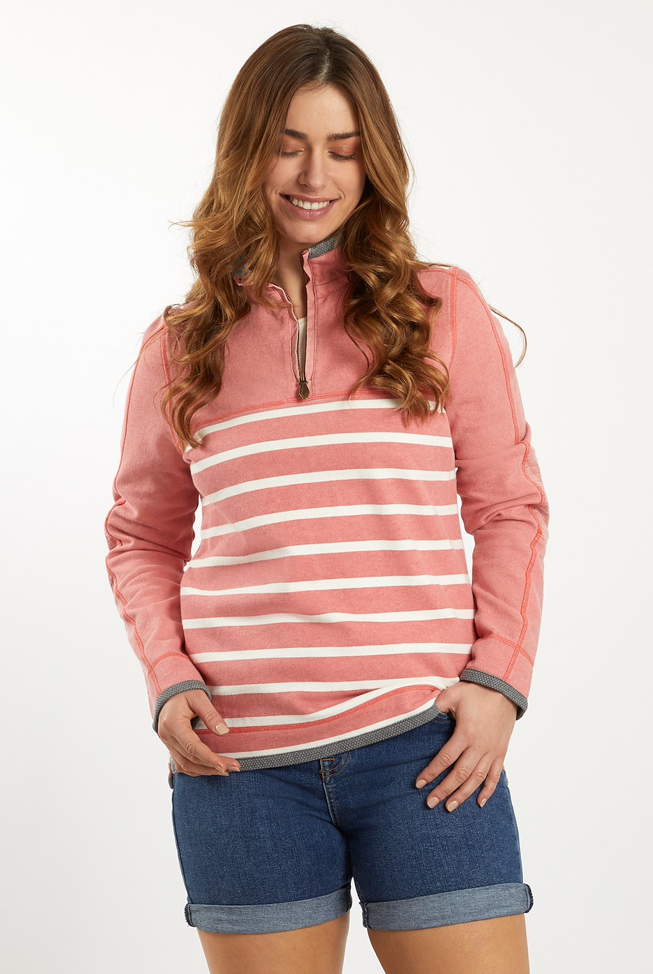Lono 1/4 Zip Striped Pique Sweatshirt Bubblegum