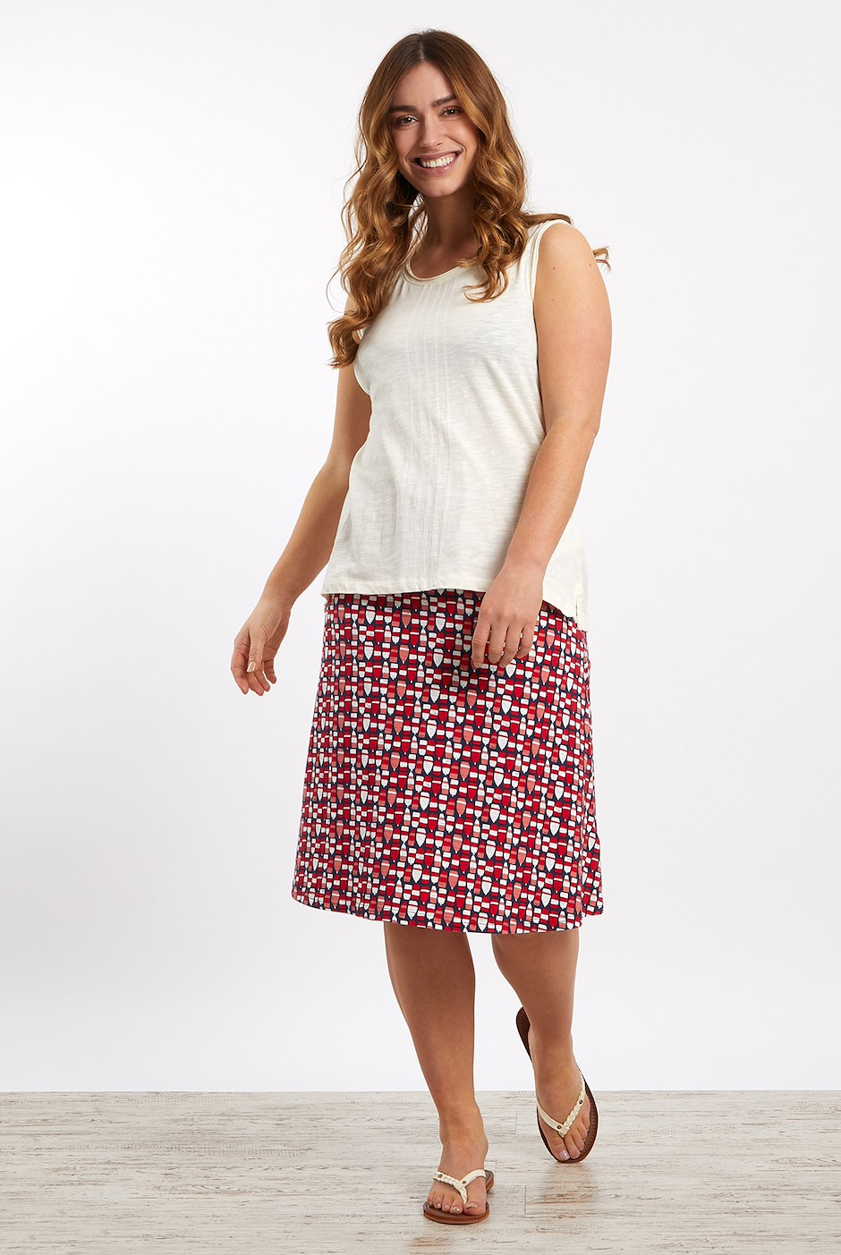 Malmo Patterned Jersey Skirt Radical Red