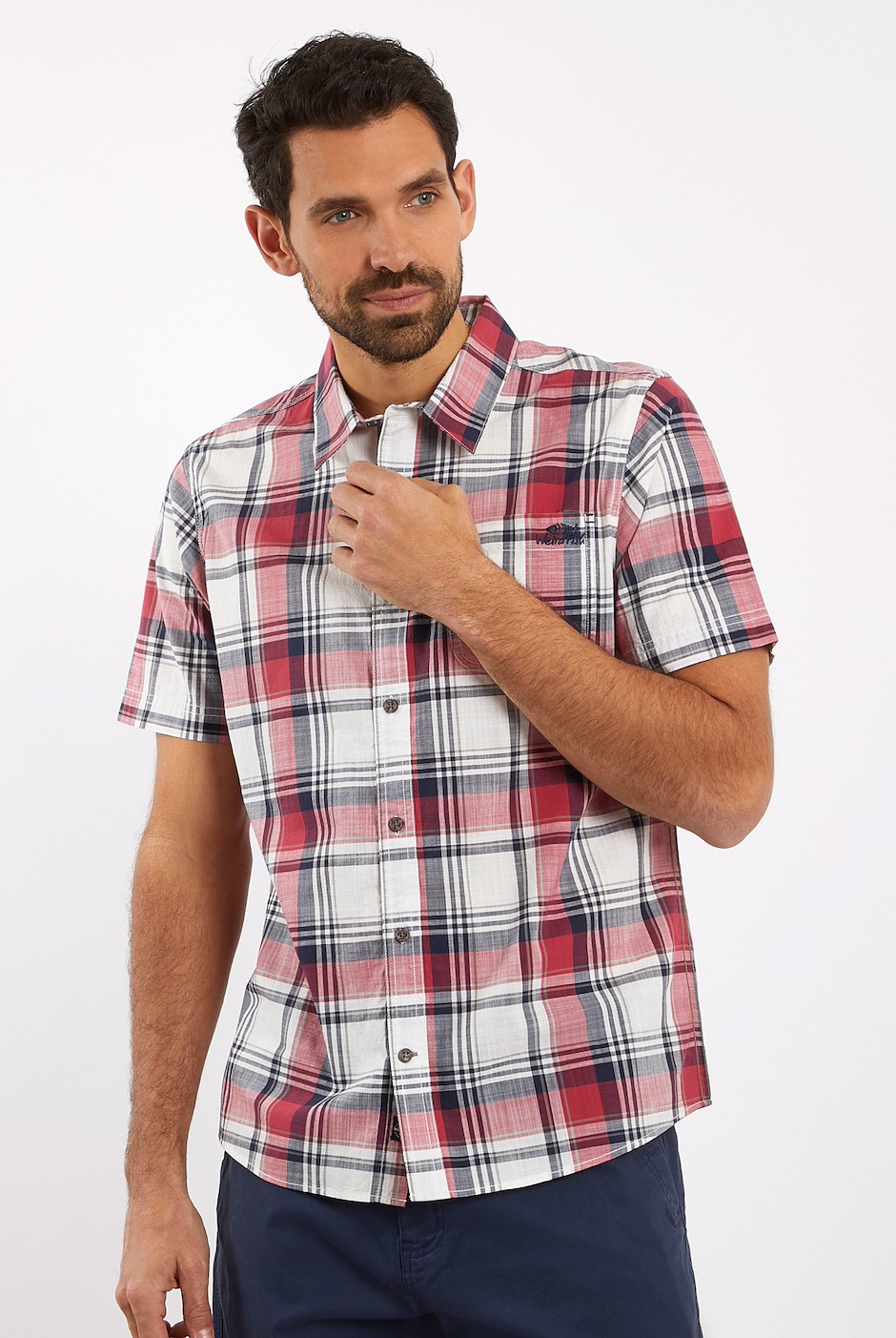 Modbury Short Sleeve Checkered Shirt Berry