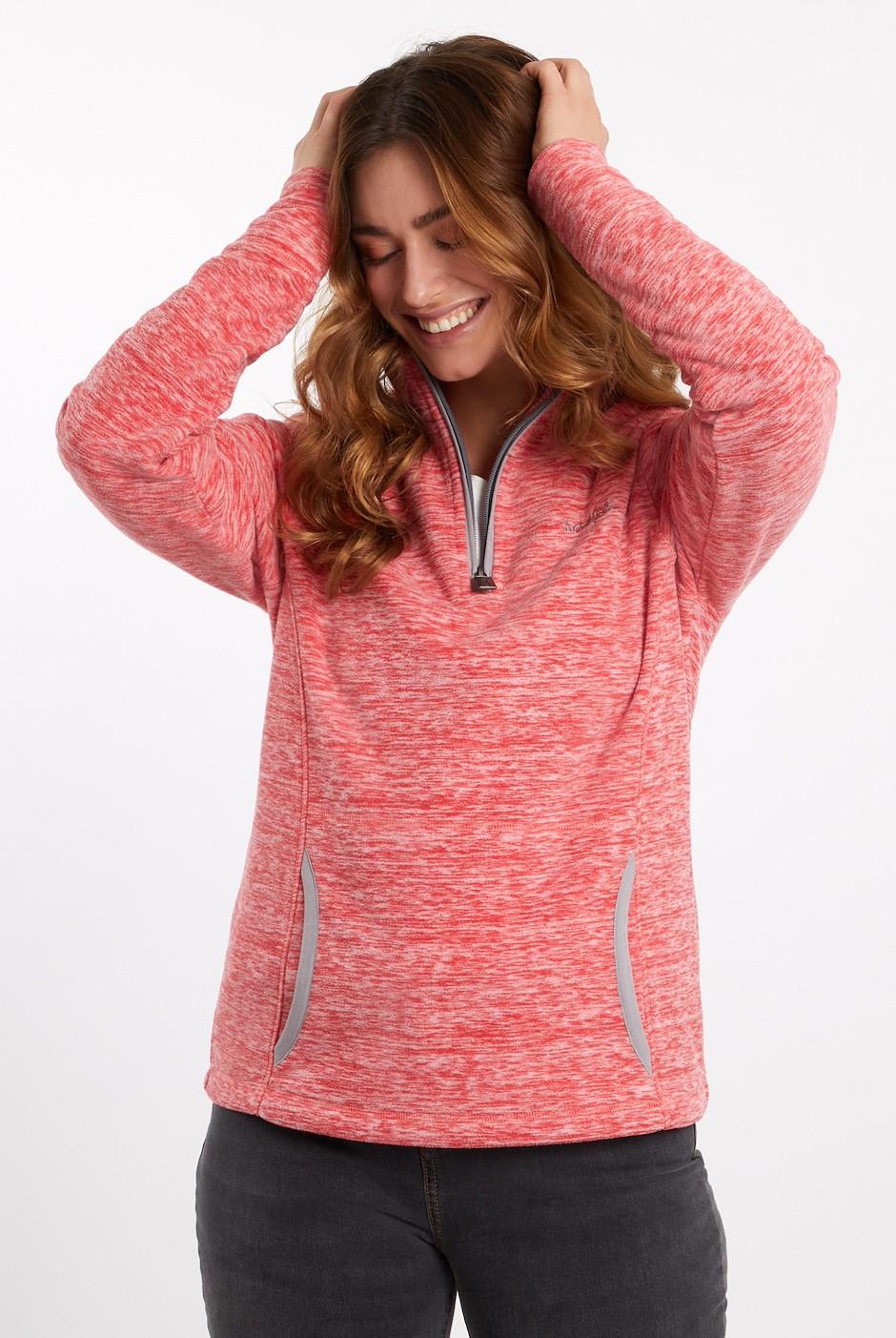 Nancy 1/4 Zip Melange Fleece Sweatshirt Radical Red