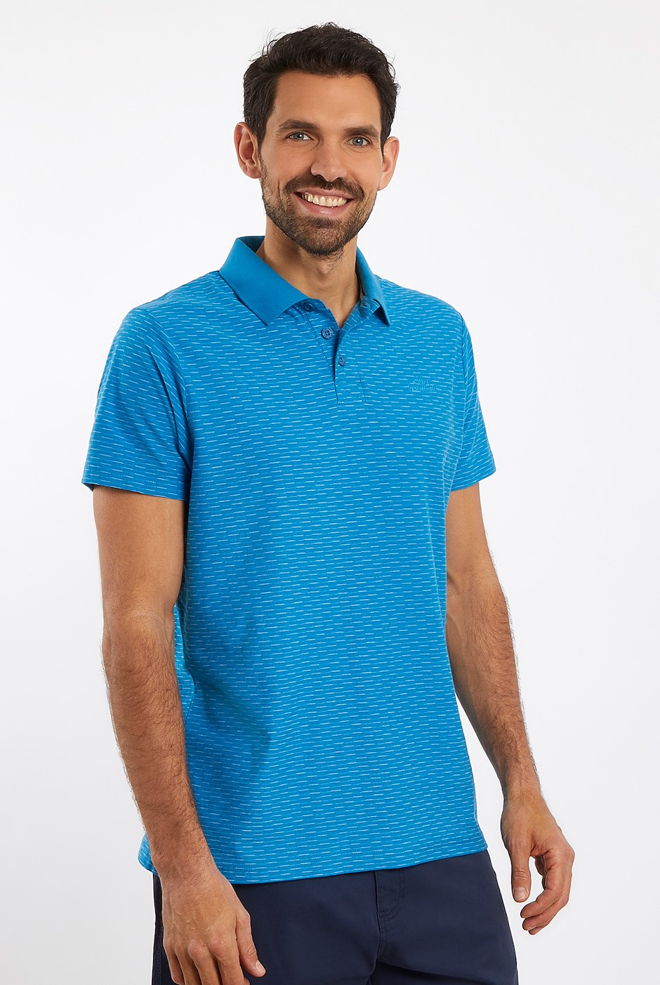 Rydal Striped Jacquard Polo Shirt Blue Wash