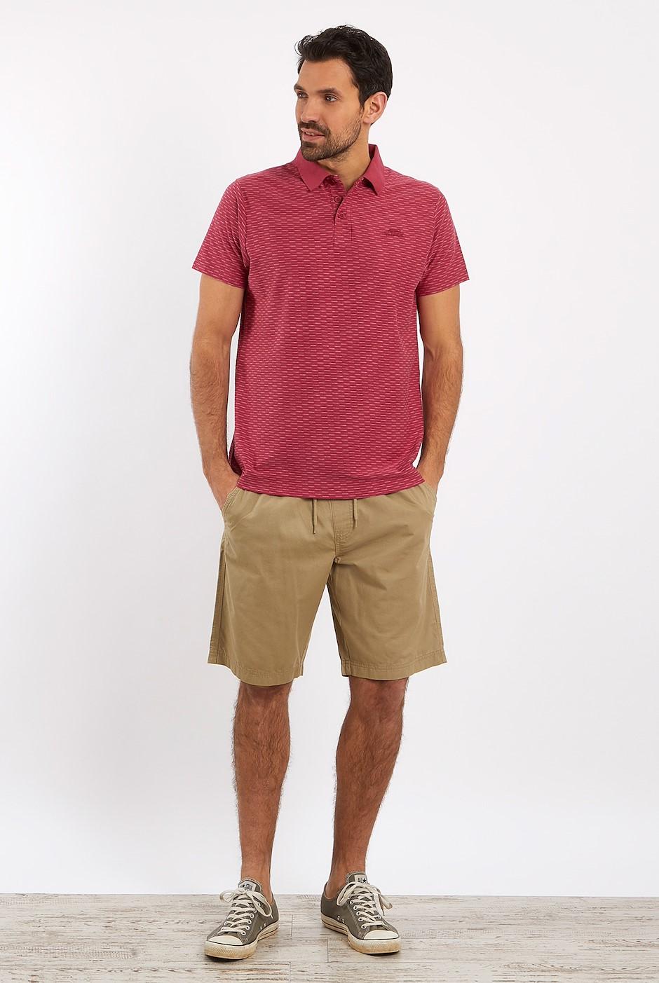 Rydal Striped Jacquard Polo Shirt Berry