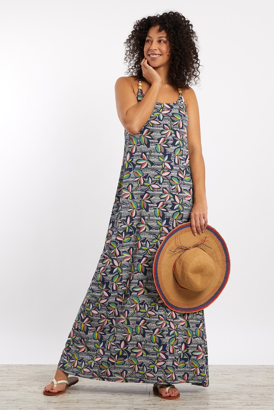 Senna Patterned Halterneck Maxi Dress   Navy