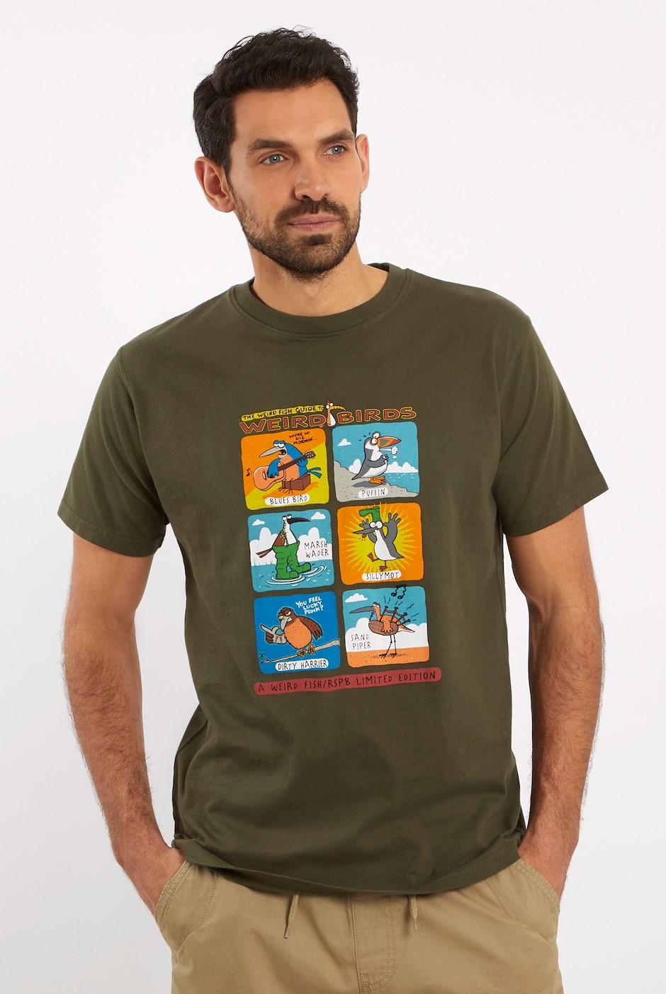 Weird Birds Artist T-Shirt Dark Olive