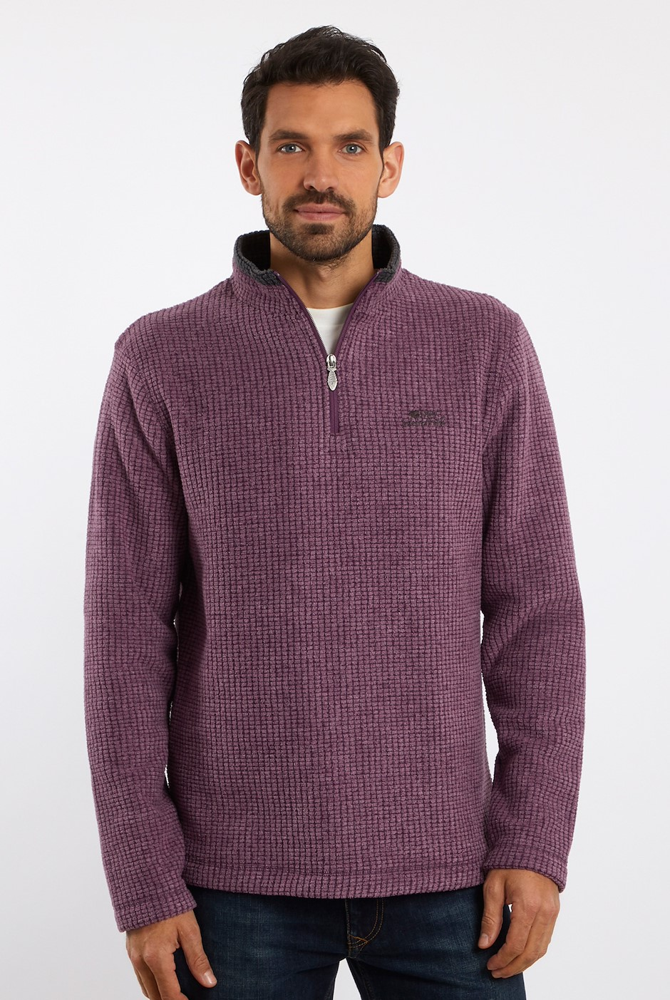 Newark 1/4 Zip Grid Fleece Plum