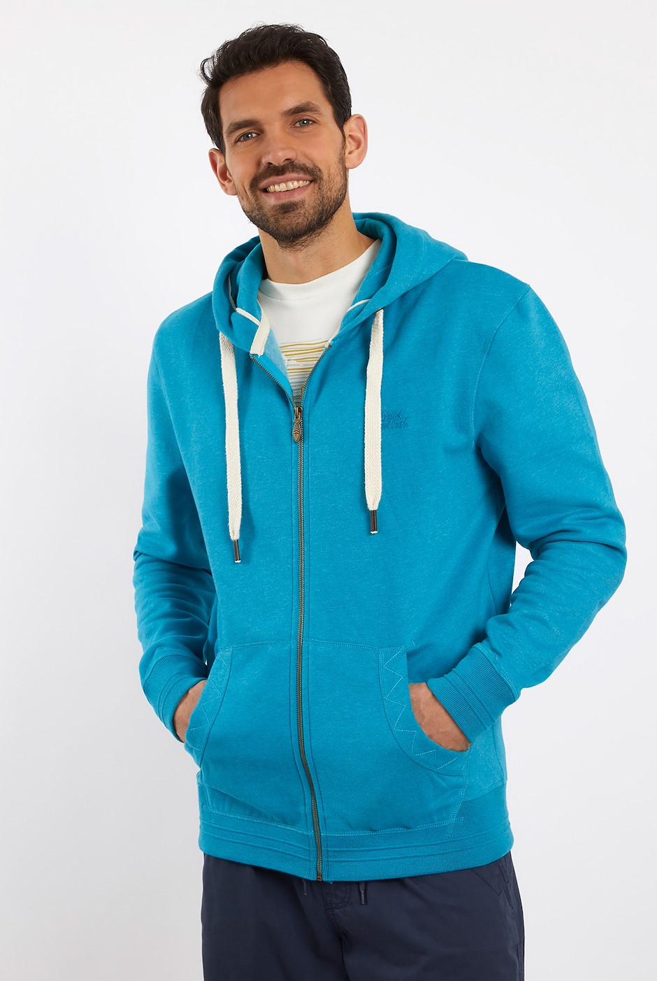 Bruno Branded Full Zip Hoodie Pagoda Blue