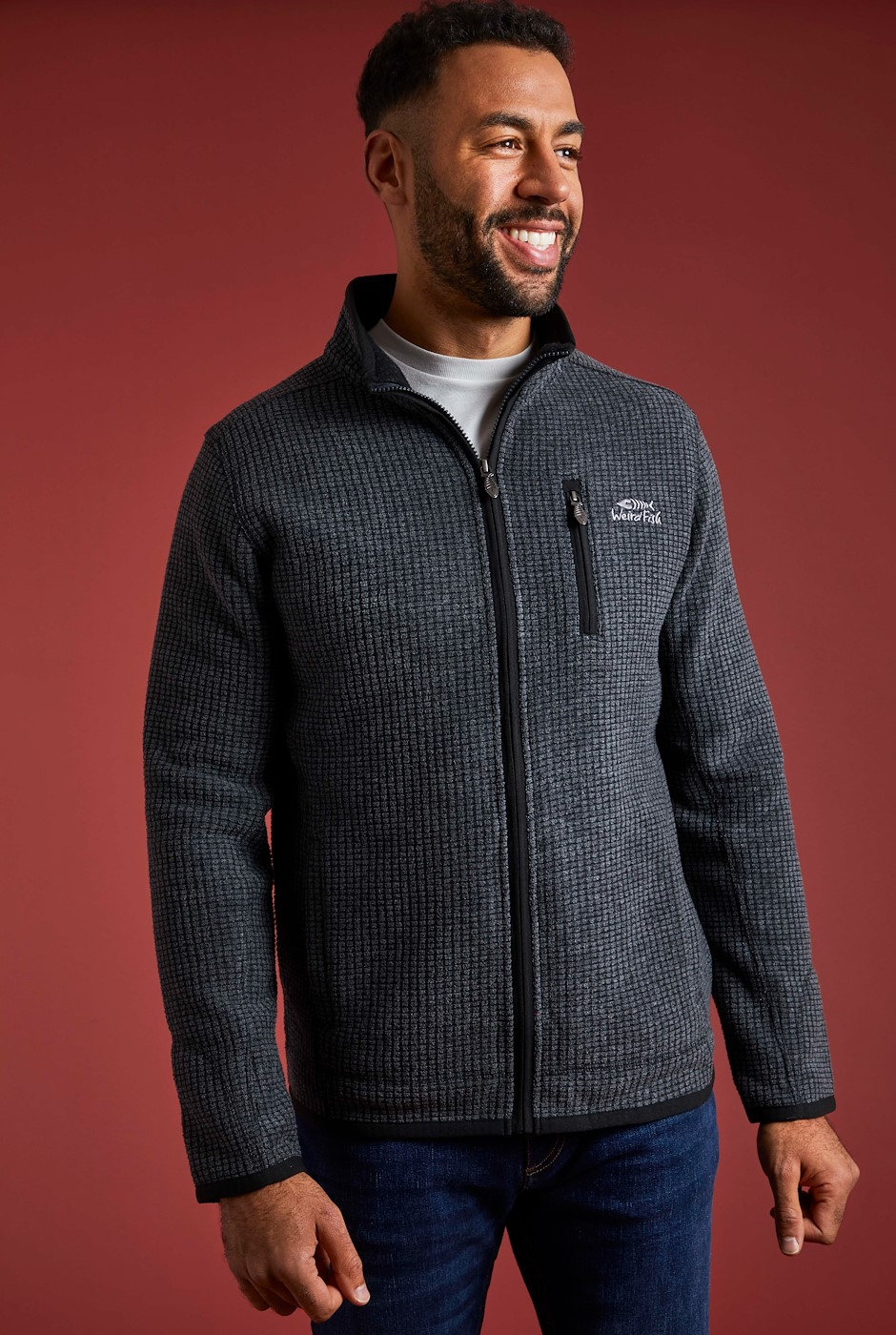 Rossten Full Zip Grid Fleece Washed Black